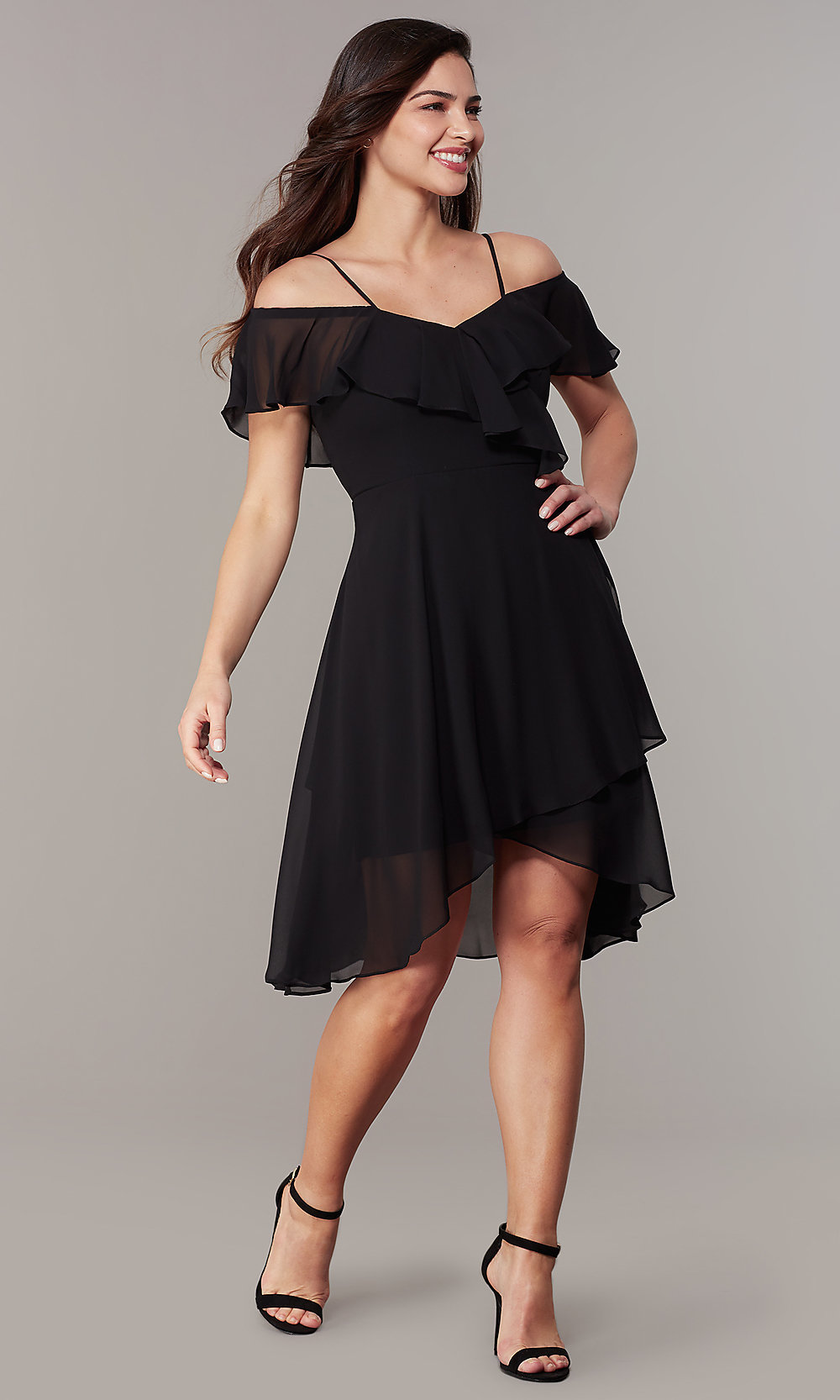 Off The Shoulder High Low Black Wedding Guest Dress,Cocktail Dresses For 60 Year Old Wedding Guest