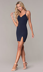 Image of short navy blue v-neck cocktail party dress by Simply. Style: MCR-SD-2541n Detail Image 3