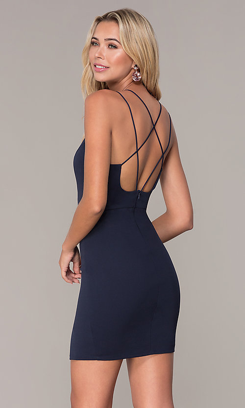 Image of short navy blue v-neck cocktail party dress by Simply. Style: MCR-SD-2541n Back Image