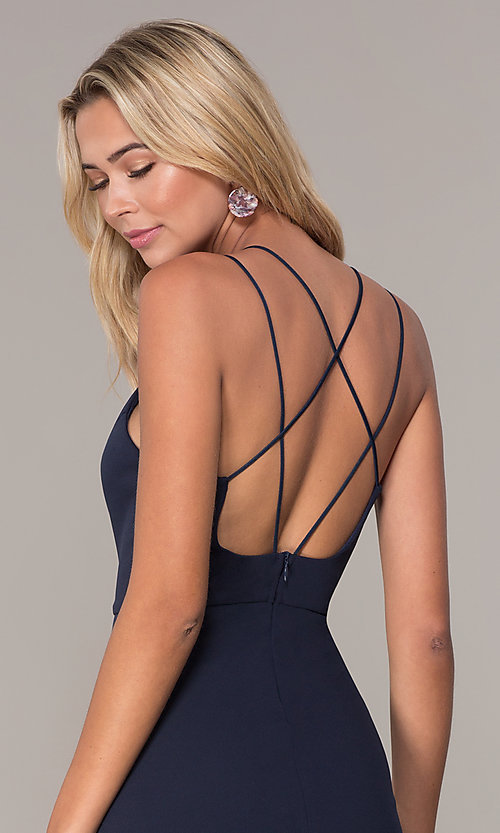 Image of short navy blue v-neck cocktail party dress by Simply. Style: MCR-SD-2541n Detail Image 2