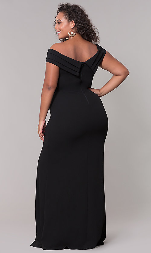 Image of off-the-shoulder long black plus-size formal dress.  Style: SY-IXD5144VPb Back Image