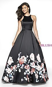 Image of long print a-line formal ball gown by Blush. Style: BL-11136Z Front Image