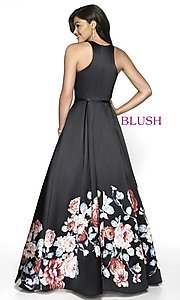 Image of long print a-line formal ball gown by Blush. Style: BL-11136Z Back Image