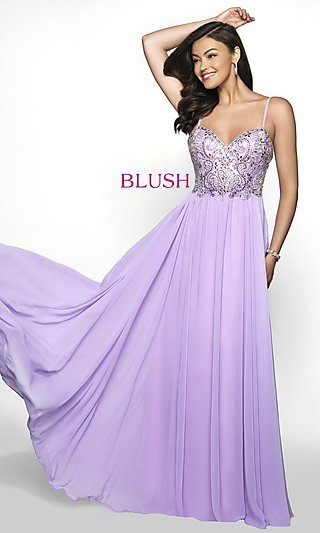 Long Empire-Waist Chiffon Blush Formal Gown
