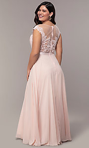 Image of plus-size embroidered-bodice long prom dress. Style: DQ-2121P Back Image