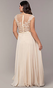 Image of plus-size embroidered-bodice long prom dress. Style: DQ-2121P Detail Image 2