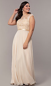 Image of plus-size embroidered-bodice long prom dress. Style: DQ-2121P Detail Image 1