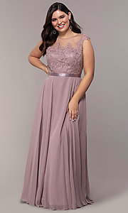 Image of plus-size embroidered-bodice long prom dress. Style: DQ-2121P Detail Image 3