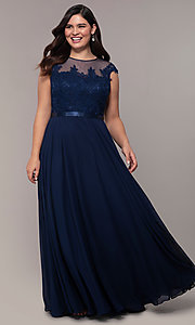 Image of plus-size embroidered-bodice long prom dress. Style: DQ-2121P Detail Image 5