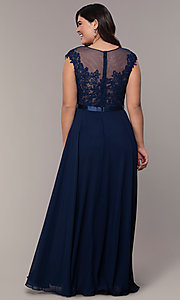 Image of plus-size embroidered-bodice long prom dress. Style: DQ-2121P Detail Image 6