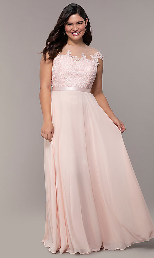 Image of plus-size embroidered-bodice long prom dress. Style: DQ-2121P Front Image