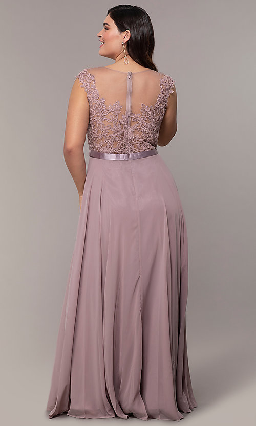 Image of plus-size embroidered-bodice long prom dress. Style: DQ-2121P Detail Image 4