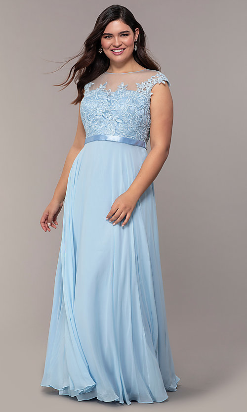 Image of plus-size embroidered-bodice long prom dress. Style: DQ-2121P Detail Image 7
