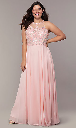 Embroidered Bodice Long Plus-Size Prom Dress