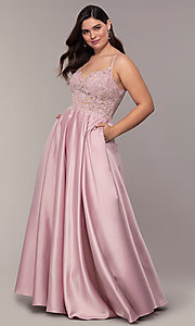 Image of long satin v-neck plus-size prom dress. Style: DQ-2459P Detail Image 6