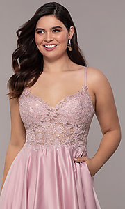 Image of long satin v-neck plus-size prom dress. Style: DQ-2459P Detail Image 1
