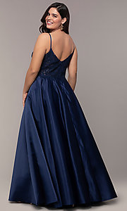 Image of long satin v-neck plus-size prom dress. Style: DQ-2459P Back Image