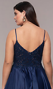 Image of long satin v-neck plus-size prom dress. Style: DQ-2459P Detail Image 2