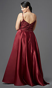 Image of long satin v-neck plus-size prom dress. Style: DQ-2459P Detail Image 4