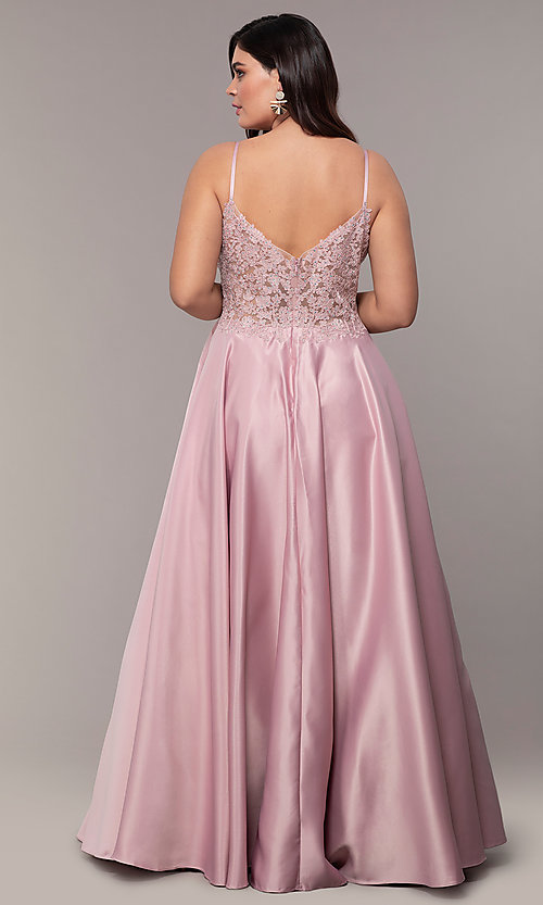 Image of long satin v-neck plus-size prom dress. Style: DQ-2459P Detail Image 7