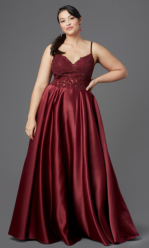 Image of long satin v-neck plus-size prom dress. Style: DQ-2459P Detail Image 3