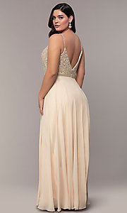 Image of long v-neck plus-size beaded-bodice formal dress. Style: DQ-2493P Back Image
