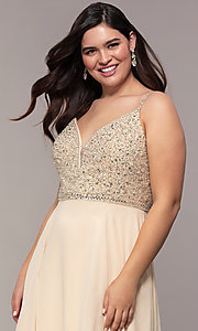 Image of long v-neck plus-size beaded-bodice formal dress. Style: DQ-2493P Detail Image 1