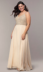 Image of long v-neck plus-size beaded-bodice formal dress. Style: DQ-2493P Detail Image 3