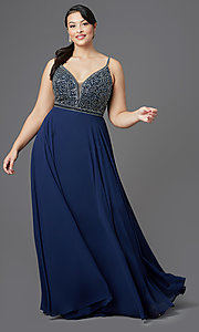 Image of long v-neck plus-size beaded-bodice formal dress. Style: DQ-2493P Detail Image 2