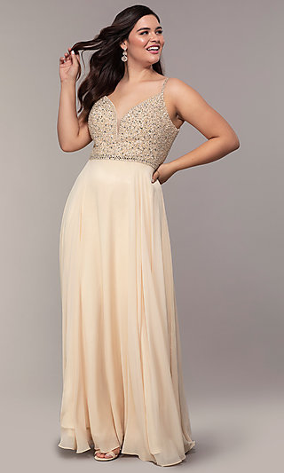 a9effa271c8 Long V-Neck Plus-Size Beaded-Bodice Formal Dress