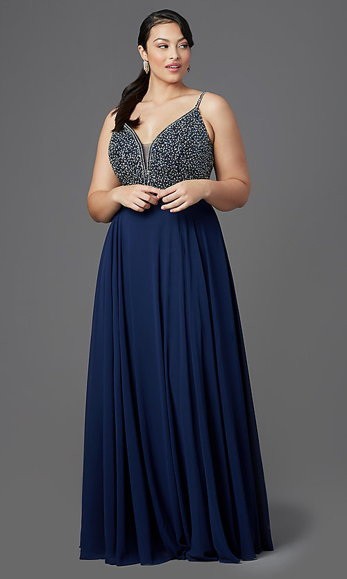 Image of long v-neck plus-size beaded-bodice formal dress. Style: DQ-2493P Front Image