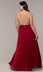 Image of plus-size beaded-bodice long chiffon prom dress. Style: DQ-2569P Detail Image 2