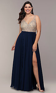 Image of plus-size beaded-bodice long chiffon prom dress. Style: DQ-2569P Detail Image 3