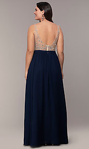 Image of plus-size beaded-bodice long chiffon prom dress. Style: DQ-2569P Detail Image 4