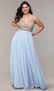 Image of plus-size beaded-bodice long chiffon prom dress. Style: DQ-2569P Front Image
