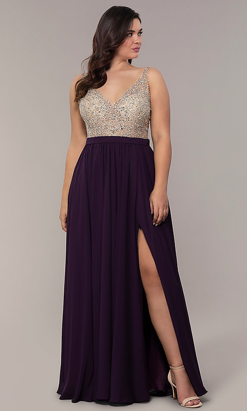 Image of plus-size beaded-bodice long chiffon prom dress. Style: DQ-2569P Detail Image 1