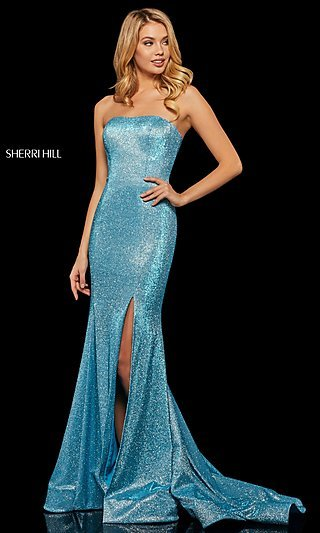Sherri Hill Glitter Long Strapless Formal Dress