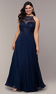 Image of chiffon plus-size beaded-bodice long prom dress. Style: NA-Y135P Front Image