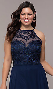 Image of chiffon plus-size beaded-bodice long prom dress. Style: NA-Y135P Detail Image 1