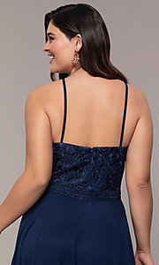Image of chiffon plus-size beaded-bodice long prom dress. Style: NA-Y135P Detail Image 2