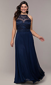 Image of chiffon plus-size beaded-bodice long prom dress. Style: NA-Y135P Detail Image 3