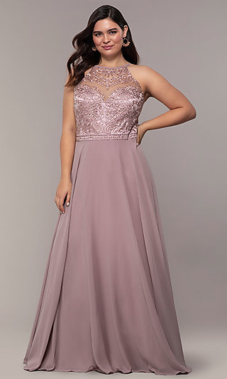 Chiffon Plus-Size Beaded-Bodice Long Prom Dress