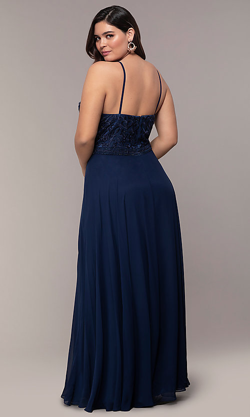 Image of chiffon plus-size beaded-bodice long prom dress. Style: NA-Y135P Back Image