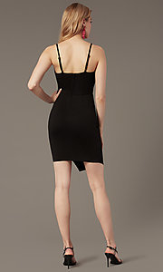 Image of square-neck wedding-guest little black dress. Style: EM-HML-1661-001 Back Image