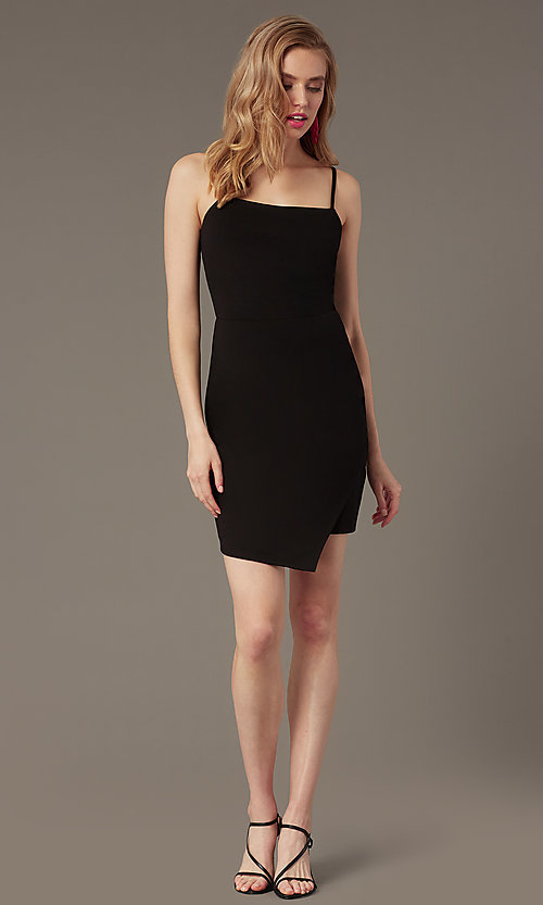 Image of square-neck wedding-guest little black dress. Style: EM-HML-1661-001 Front Image
