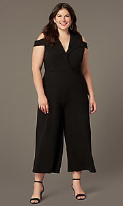Image of cold-shoulder plus-size cropped-leg party jumpsuit. Style: SY-IXB-1536AP Front Image