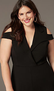 Image of cold-shoulder plus-size cropped-leg party jumpsuit. Style: SY-IXB-1536AP Detail Image 1