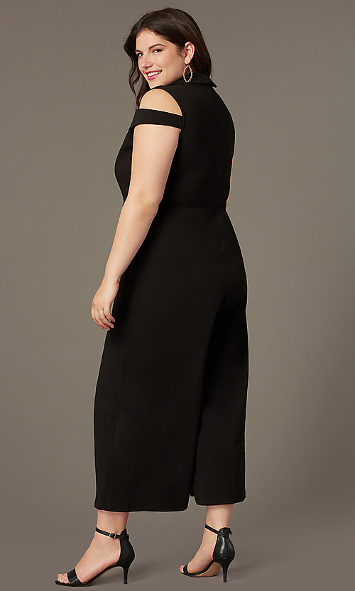 Image of cold-shoulder plus-size cropped-leg party jumpsuit. Style: SY-IXB-1536AP Back Image