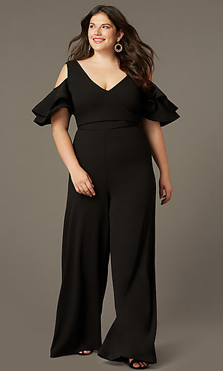 Cold-Shoulder Wedding-Guest Plus-Size Jumpsuit
