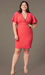Image of coral pink short plus-size wedding-guest dress. Style: SY-IXD-6498AP Front Image